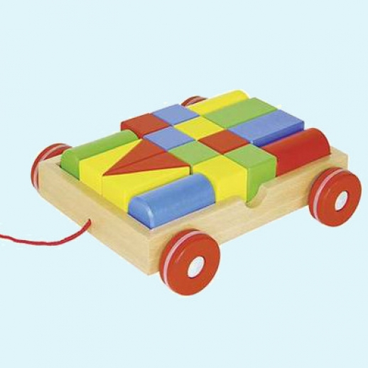 GOKI Ziehwagen Zug Wagen Spiel Kleinkinder Bauklötze Holz Spielklötze Bauklotz
