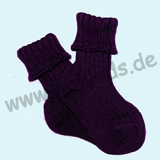 Grödo - Natur pur - Babysocke Schurwolle lila violett grobgestrikt