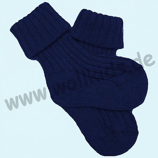 Grödo: natürlich warm Babysocke Schurwolle marine dunkelblau