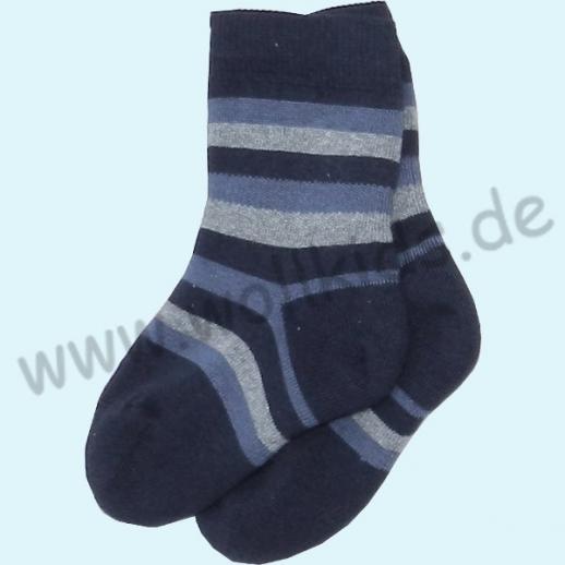 GRÖDO Natur Vollfrottee Kinder Socken Ringel kbA Baumwolle blau Ringel