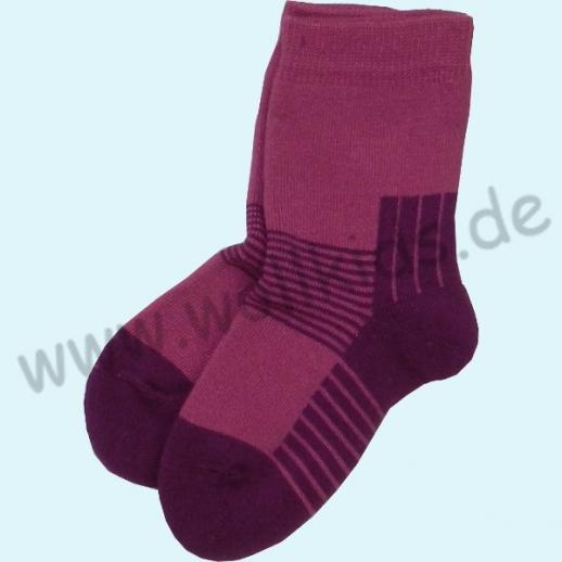 GRÖDO Natur Vollfrottee Kinder Socken Ringel kbA Baumwolle pink Ringel