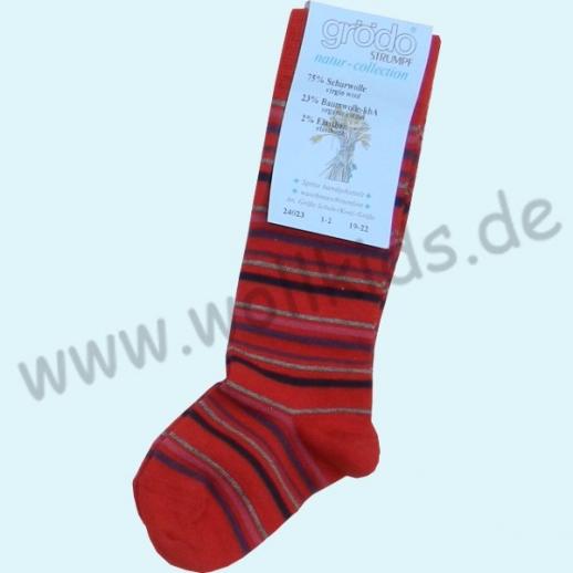 GRÖDO: Süße WINTER - Kinder Kniestrümpfe SCHURWOLLE rot Ringel