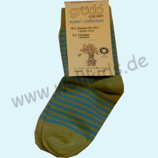 Grödo: Natur Pur! Süße Kinder-Socken Ringel kbA Baumwolle BIO kiwi türkis