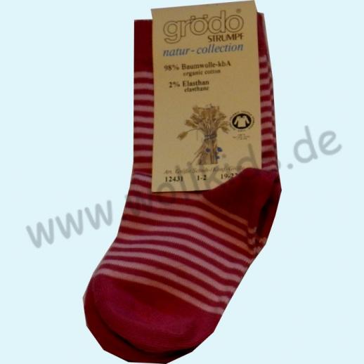 Grödo: Natur Pur! Süße Kinder-Socken Ringel kbA Baumwolle BIO pink rose