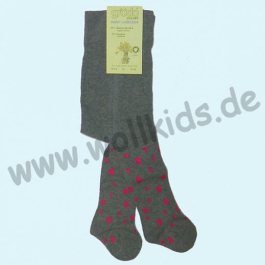 NEU: Grödo Baby Strumpfhose grau pinke Punkte - BIO Baumwolle GOTS - ultrasüß
