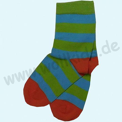 GRÖDO Natur Süße Kinder Socken Ringel kbA Baumwolle grün-türkis Ringel GOTS