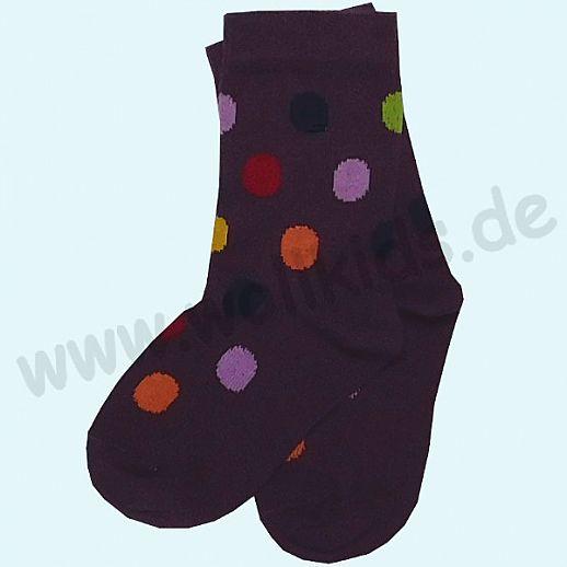 GRÖDO Natur Süße Kinder Socken Punkte kbA Baumwolle lila mit bunten Punkten GOTS