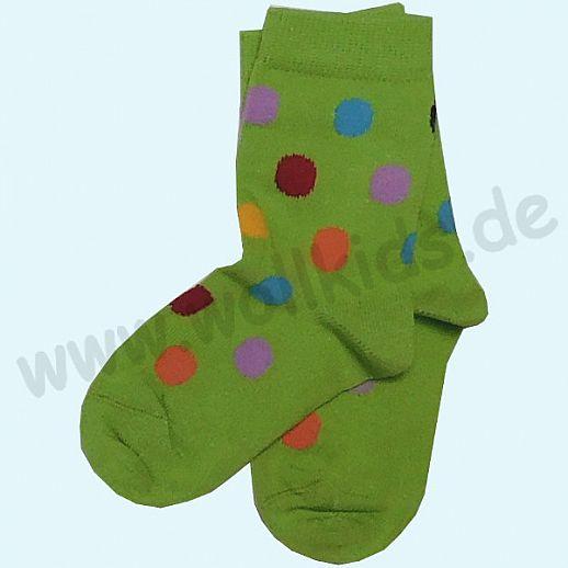 GRÖDO Natur Süße Kinder Socken Ringel kbA Baumwolle grün mit bunten Punkten GOTS
