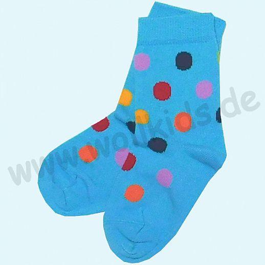 GRÖDO Natur Süße Kinder Socken Punkte kbA Baumwolle türkis mit bunten Punkten GOTS