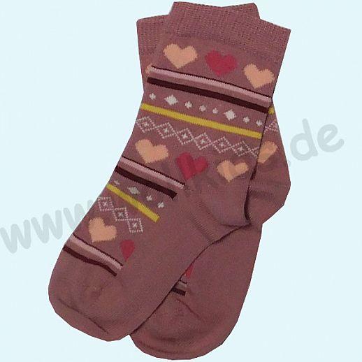 GRÖDO Natur Süße Kinder Socken kbA Baumwolle altrosa Herzchen Ringel Muster GOTS