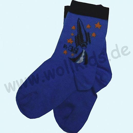 GRÖDO Natur Süße Kinder Socken kbA Baumwolle blau Rakete GOTS