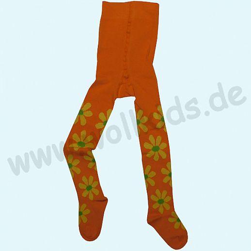 Grödo Kinder Strumpfhose mandarine Blumen kbA Bio Baumwolle GOTS