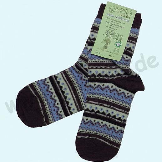 NEU: Grödo Damensocke Socke kbT Schurwolle feine, dünne Schurwollsocke mit tollem Norwegermuster lila blau natur
