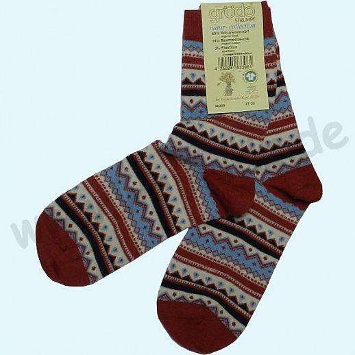 NEU: Grödo Damensocke Socke kbT Schurwolle feine, dünne Schurwollsocke mit tollem Norwegermuster rot blau natur