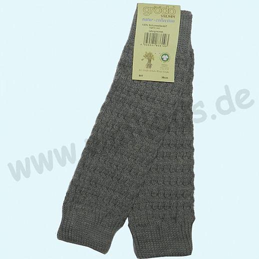 GRÖDO - Beinlinge - Stulpen - 100% kbT Schurwolle Beinwärmer BIO Organic grau melange