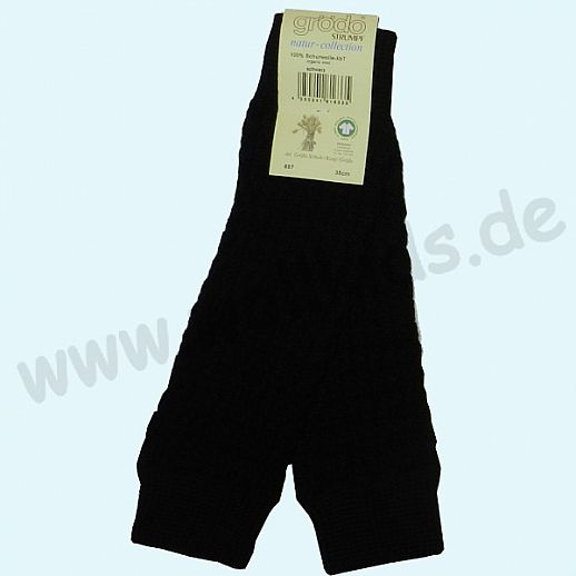 GRÖDO - Beinlinge - Stulpen - 100% kbT Schurwolle Beinwärmer BIO Organic schwarz