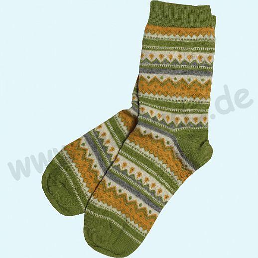 NEU: Grödo Damensocke Socke kbT Schurwolle feine, dünne Schurwollsocke - Norwegermuster grün