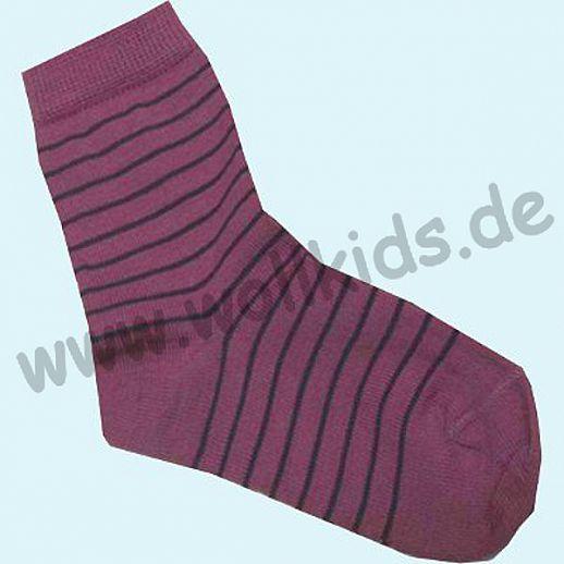 Süße Kinder-Socken Ringel kbT Schurwolle GRÖDO Natur lila flieder