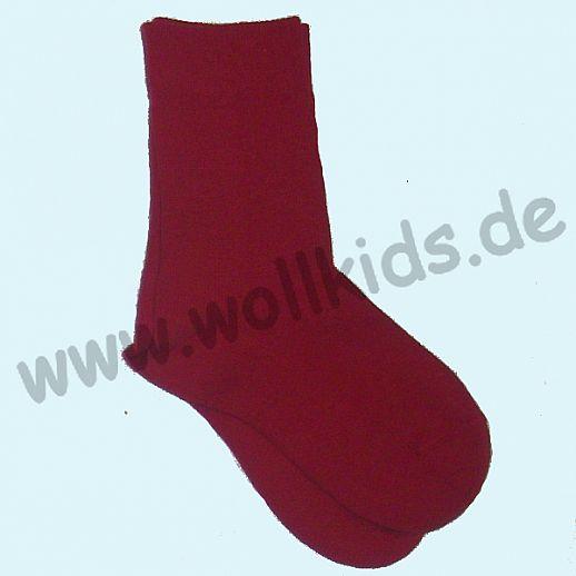 Warme Kinder-Socken kbT Schurwolle GRÖDO Natur kirsche rot