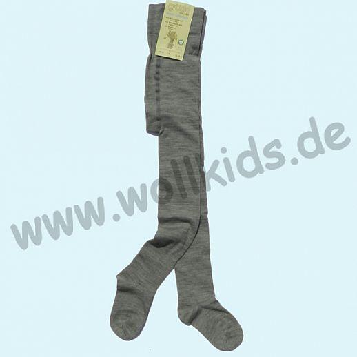 GRÖDO: Kinderstrumpfhose kbT Schurwolle Ringel ORGANIC GOTS grau melange