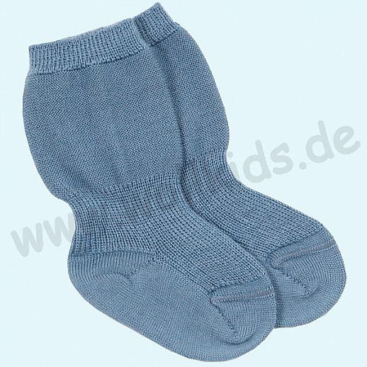 GRÖDO: Babysocke Speckbeinsocke blau 100% Schurwolle GOTS ORGANIC