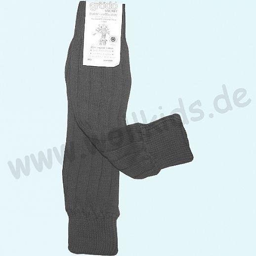 GRÖDO - Beinlinge - Stulpen - 100% kbA Baumwolle Beinwärmer BIO Organic dunkelgrau
