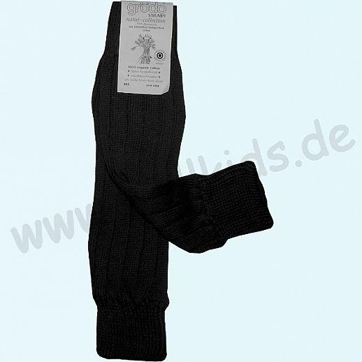 GRÖDO - Beinlinge - Stulpen - 100% kbA Baumwolle Beinwärmer BIO Organic schwarz