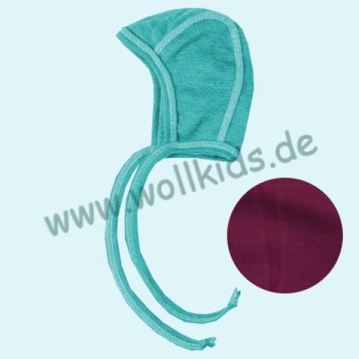 Engel Baby Häubchen kbT Merino-Wolle Seide türkis orchidee GOTS BIO