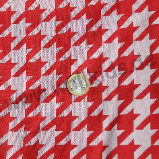 Jersey Hahnentritt rot weiß - weich und anschiegsam,- fällt ganz weich und fließend