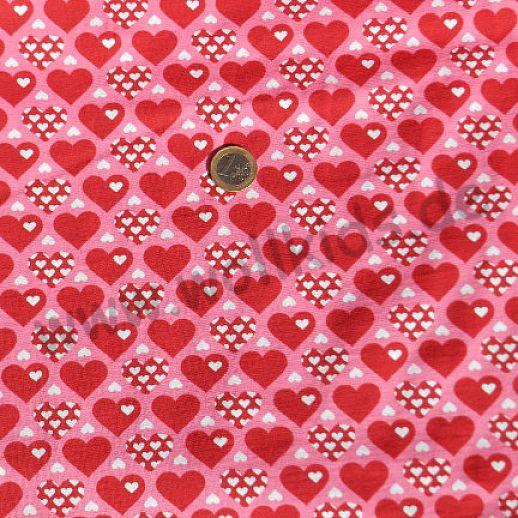 Jersey - Baumwolle - Heartbeat Herzen rot rosa  - ganz tolle, hochwertige Qualität