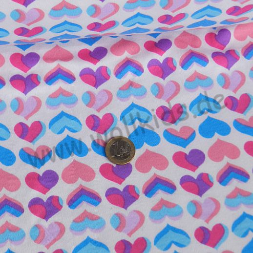 Herzen pink türkis - Interlock 100% Baumwolle - super Qualität