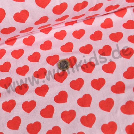 Jersey - Baumwolle - Herzen in rot auf rosa - Top Qualität
