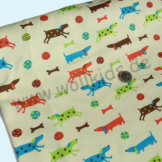 Interlock in hellgelb mit süßen Hunden - Baumwolle - bezaubernd