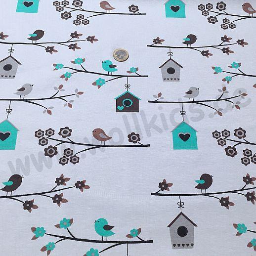 Jersey - Baumwolle - VICENTE Vögel Vogelhäuschen grau türkis - Top Qualität