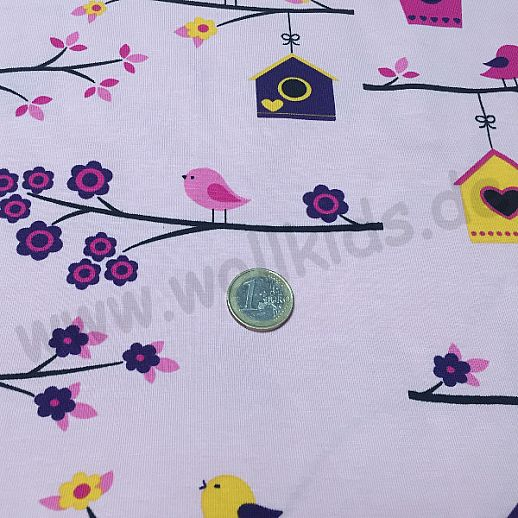 Jersey - Baumwolle - VICENTE Vögel Vogelhäuschen auf rosa - Top Qualität