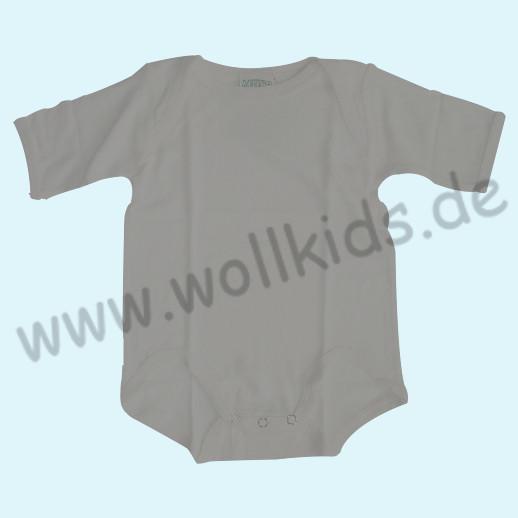 Baby-Body Kurzarm Bourette Seide ALKENA - hautfreundlich - hellgrau, grün, fuchsia