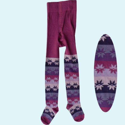 Kinder-Strumpfhose Ringel Sterne pink kbA BW BIO BAUMWOLLE von Grödo Natur
