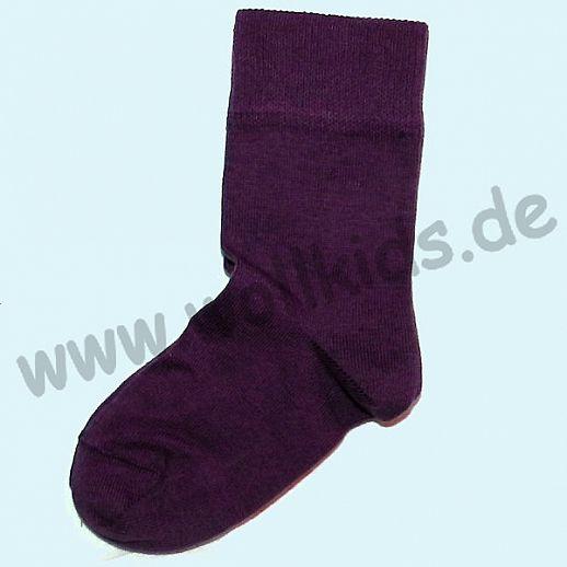 Kinder-Socken lila kbA Baumwolle uni brombeer ORGANIC BIO