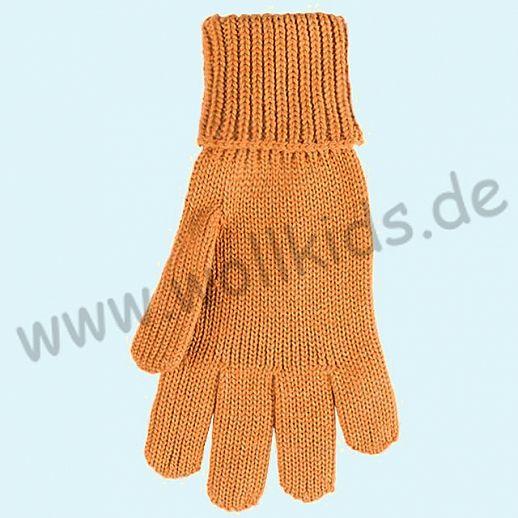 GENIAL: PurePure Fingerhandschuhe für Kinder - Schurwolle kbT mit Seide Organic curry
