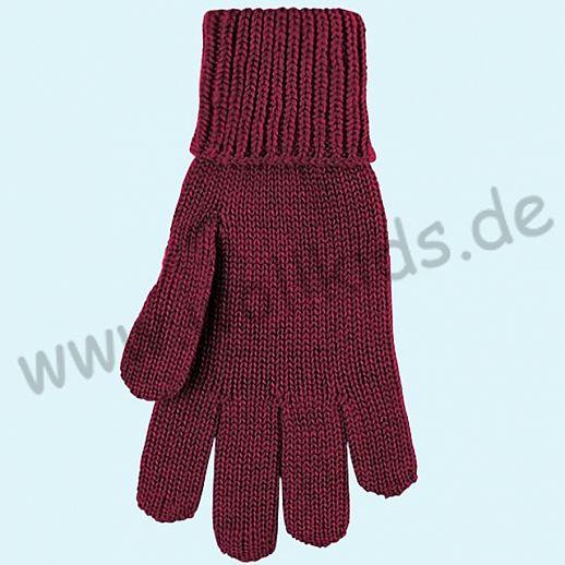 GENIAL: PurePure Fingerhandschuhe für Kinder - Schurwolle kbT mit Seide Organic weinrot