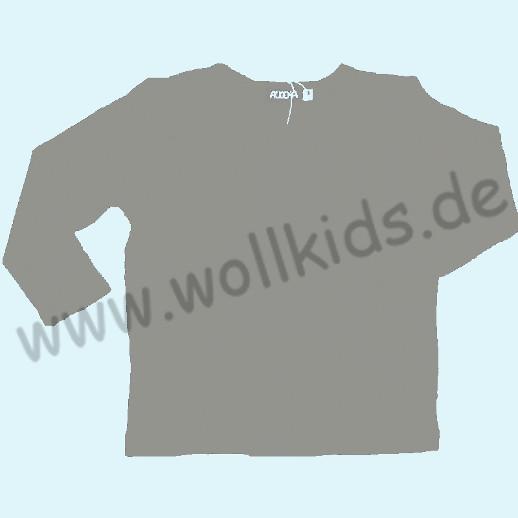 ALKENA Langärmliges Kinder-Shirt, auch als Schlafi, Bourette Seide grau, anthrazit, kirschrot