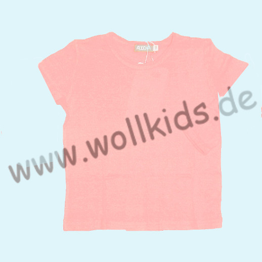 ALKENA Kurzärmliges Kinder-Shirt, auch als Schlafi, Bourette Seide rosa, aqua
