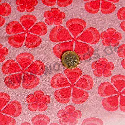Jersey - Baumwolle - VICENTE Blumen rot auf rosa - Klee - Top Qualität