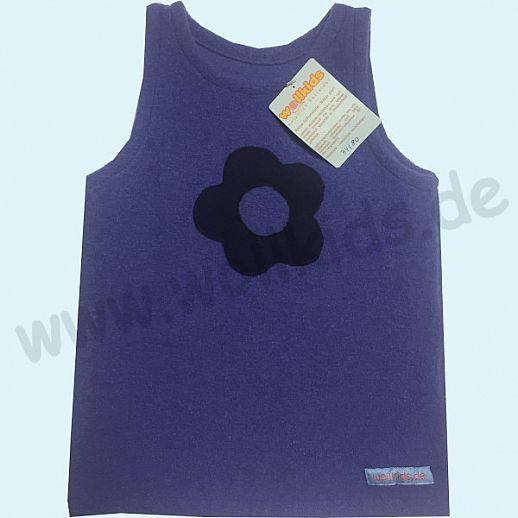Sondermodell: Walk-Kleid blau Blume marine - bezaubernd schön - Reine Schurwolle