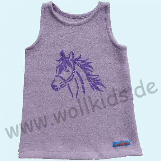 NEU: Walk-Kleid Kleid flieder Pferd Druck lila - 100% Schurwolle