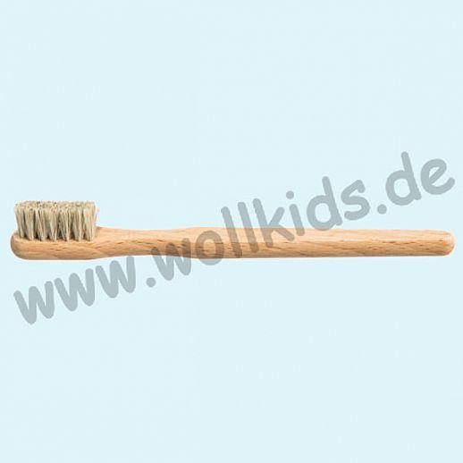 KOSTKAMM: Zahnbürste, Buche, weiche Dachshaar Borste für Kinder und Erwachsene, 14cm