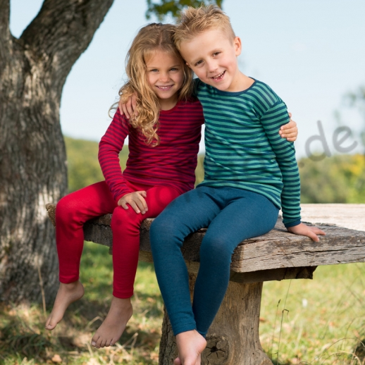 NEU: Maschinenwaschbar Engel Kinder LA Hemd Wolle Seide blau-türkis Ringel