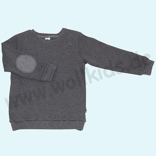 LEELA COTTON: BIO Baumwolle Pullover Sweatshirt Piqué anthrazit melange Pulli NEU
