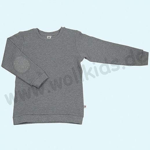 LEELA COTTON: BIO Baumwolle Pullover Sweatshirt Piqué grau melange Pulli NEU
