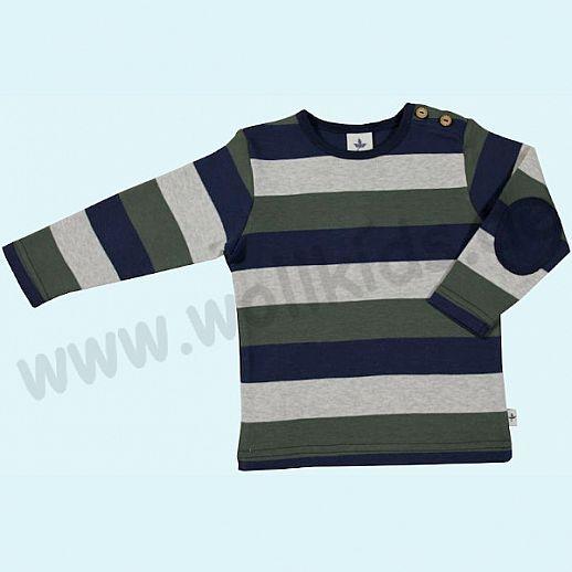BIO BAUMWOLLE Leela Cotton Langarm Pulli Shirt kbA BW Streifen navy beige grün